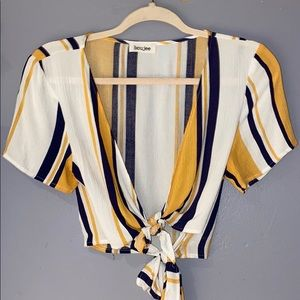 Woman's Boujee Striped Double Tie Front Blouse S